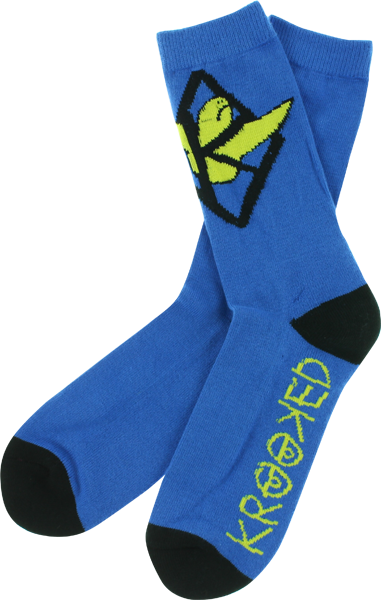 Krk Kaged Bird Crew Socks Blu/Yel/Blk 1 Pair