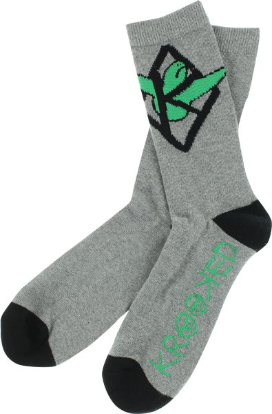 Krk Kaged Bird Crew Socks Grey/Grn/Blk 1 Pair