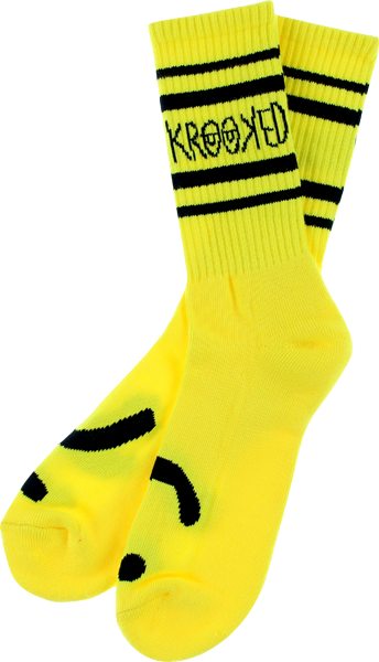 Krk Shmoo Crew Socks Yellow W/Blk 1 Pair