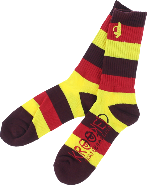 Krk Shomolo Stripe Crew Socks Red/Yel/Burg  1 Pair