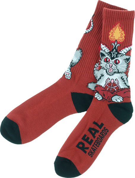 Real Kitten Lord Crew Socks Red/Blk 1Pair