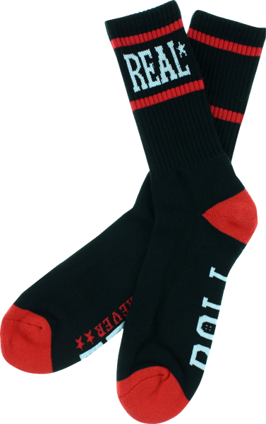 Real Roll Forever Crew Socks Black 1Pair