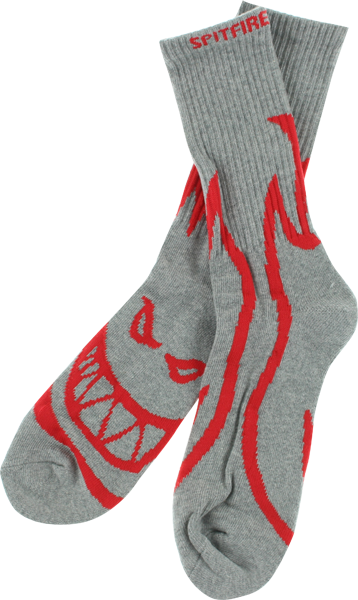 Sf Biggerhead Crew Socks Grey/Red 1 Pair