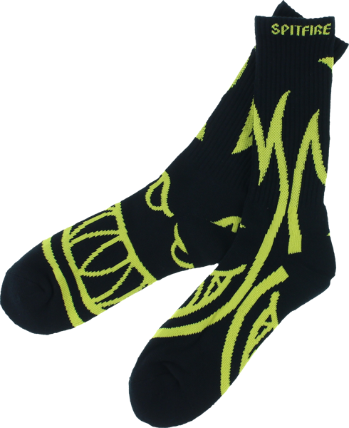 Sf Biggerhead Crew Socks Blk/Yel 1 Pair