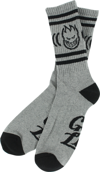 Sf Get Lit Crew Socks Grey/Blk 1 Pair