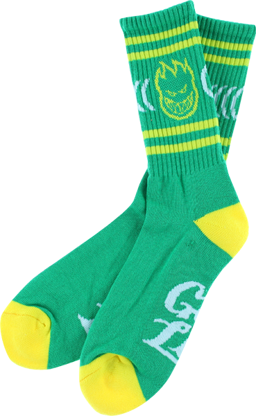 Sf Get Lit Crew Socks Kelly Grn/Yel 1 Pair