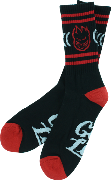 Sf Get Lit Crew Socks Blk/Red 1 Pair
