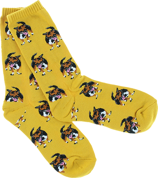 Skate Mental Dog Socks Yel Single Pair
