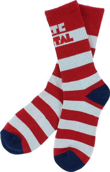 Skate Mental Stripe Socks Red/Wht Single Pair