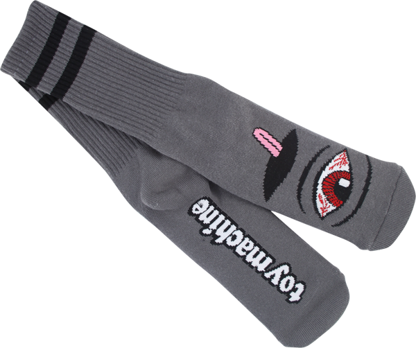 Tm Bloodshot Eye Crew Socks-Charcoal 1 Pair