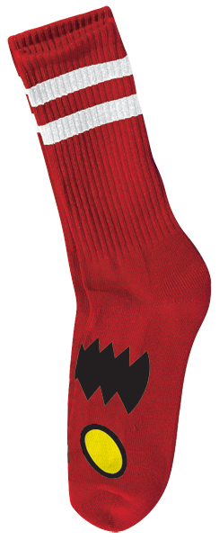 Tm Monster Face Crew Socks-Red 1 Pair