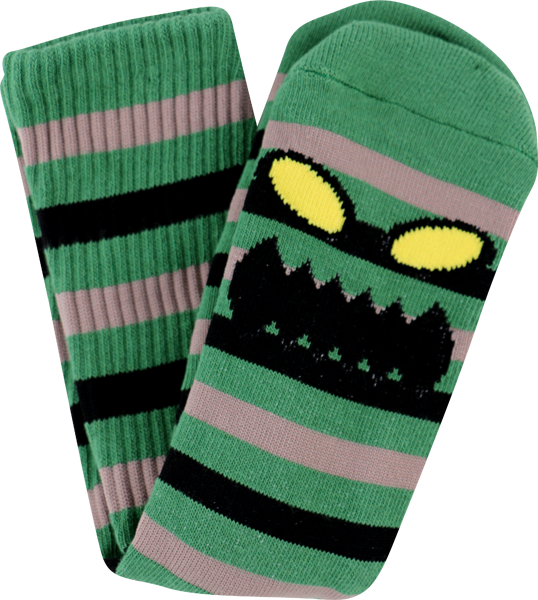 Tm Monster Stripe Crew Socks-Grn/Brown 1 Pair