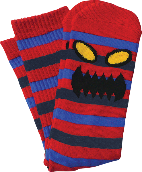 Tm Monster Stripe Crew Socks-Red/Blue 1 Pair