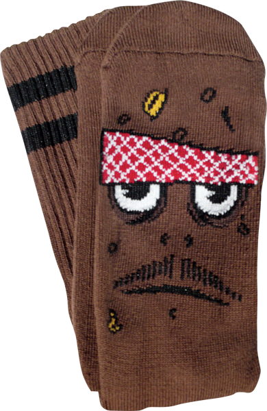 Tm Poo Poo Head Crew Socks-Brown 1 Pair