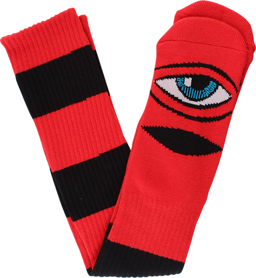 Tm Sect Stripe Knee Socks Red/Black 1Pr