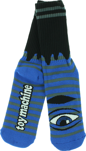 Tm Sect Eye Stripe Crew Socks-Blu/Grey/Blk 1Pr