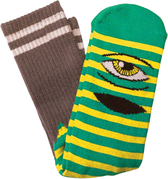Tm Sect Eye Stripe Crew Socks-Grn/Yel/Brn 1 Pair