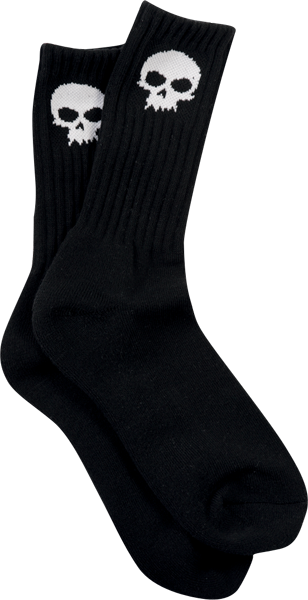 Zero Skull Crew Socks-Blk/Wht Single Pair