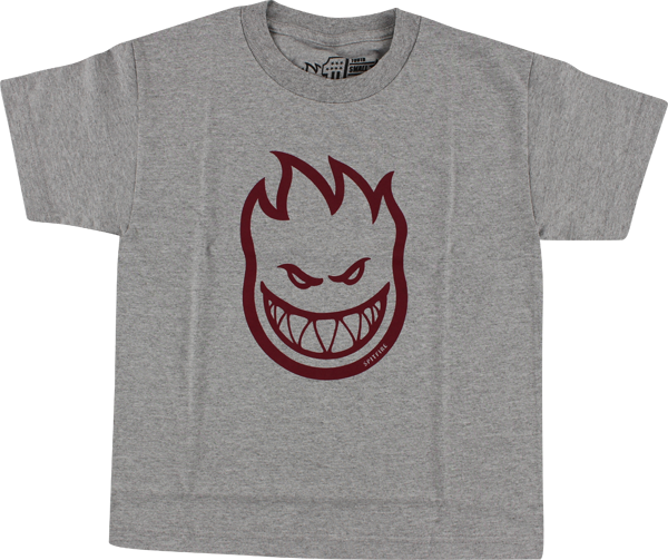 Sf Bighead Yth-Ss M-Heather Grey/Burgundy