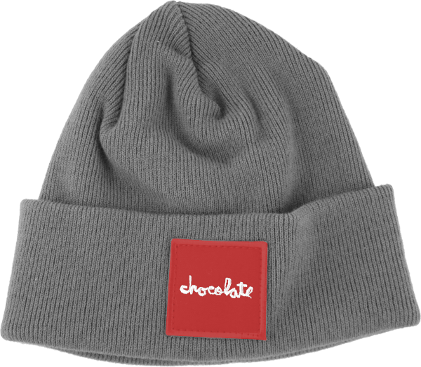 Choc Red Square Fold Beanie Grey