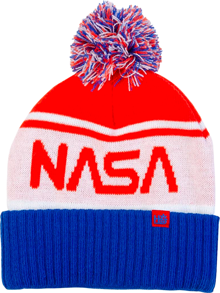 Habitat Nasa Pom Beanie Wht/Red/Blue