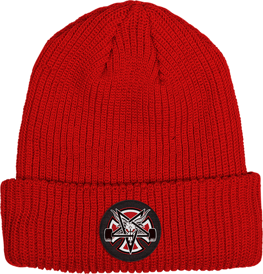 Inde Thrasher Pentagram Cross Beanie Lipstick Red