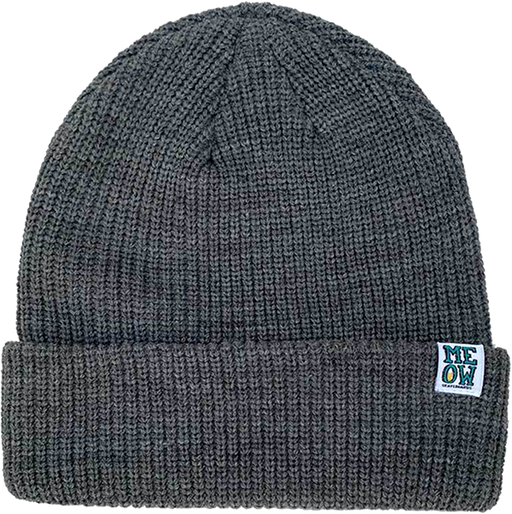 Meow Stacked Logo Cuff Beanie Dark Heather Grey