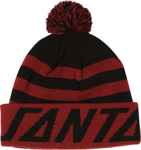 Sc Strip Puff Pom Beanie Blk/Cardinal Red