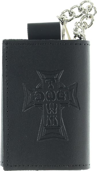 Dogtown Small Trifold Leather Chain Wallet Black