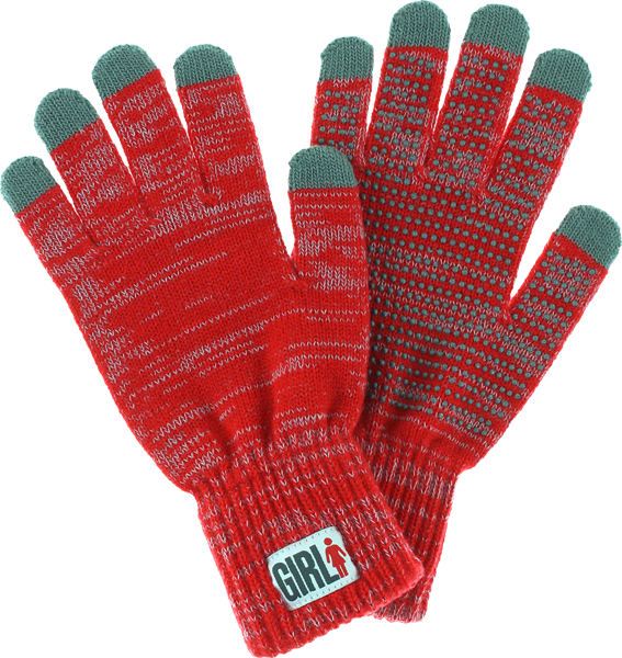 Girl Iphone Touch Gloves Red Heather