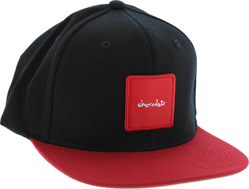 Choc Red Square Patch Hat Adj-Black/Red