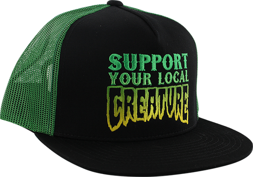 Creature Support Mesh Hat Adj-Black/Kelly Grn