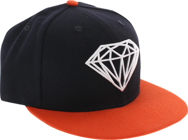 Diamond Brilliant Hat 7-7/8 Navy/Org