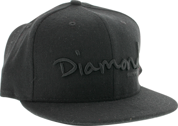 "Diamond Og Script Hat 7-1/2"" Black"