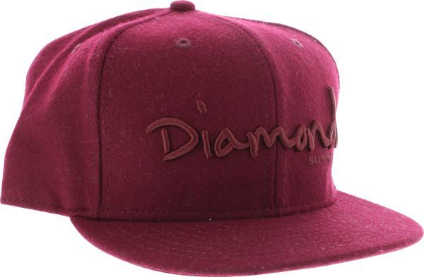 "Diamond Og Script Hat 8"" Burgundy"