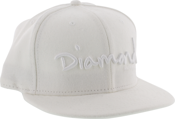 "Diamond Og Script Hat 8"" White"