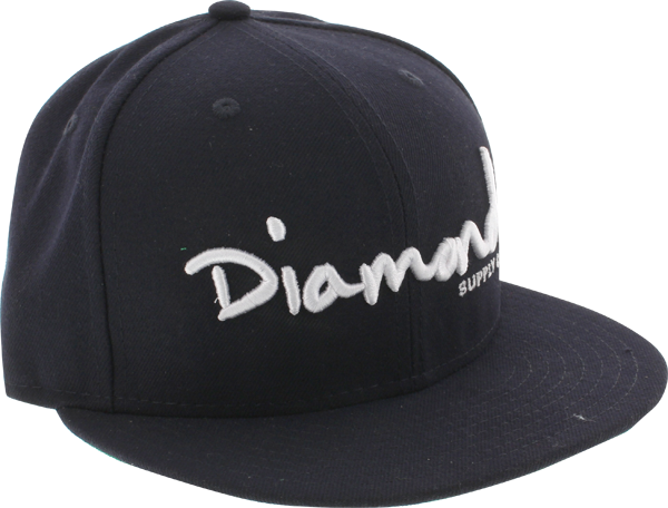 "Diamond Og Script Hat 7"" Navy/Wht Newera"
