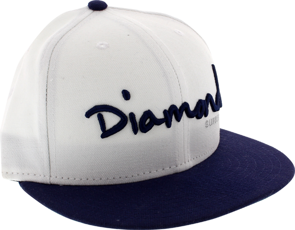"Diamond Og Script Hat 7-1/8"" Wht/Navy Newera"