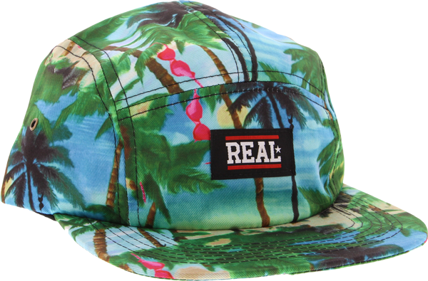 Real Floral 5Panel Camper Hat Adj-Grn/Blu