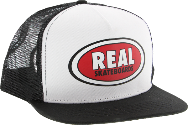Real Oval Patch Mesh Hat Adj-Wht/Blk