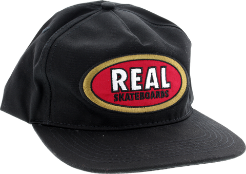 Real Oval Unstructured Adj Hat-Blk/Red