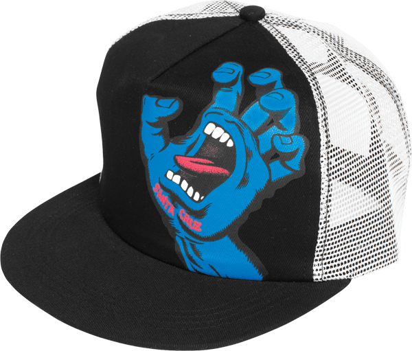 Sc Screaming Hand Mesh Hat Adj-Blk/Wht