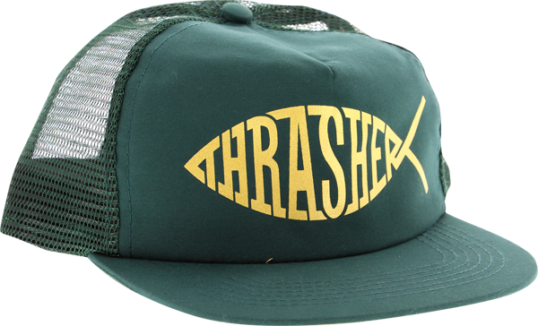 Thrasher Fish Mesh Hat Adj-Grn/Gold
