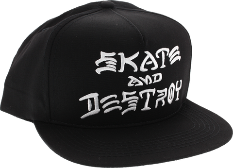 Thrasher Skate & Destroy Embroidered Hat Adj-Bk/Wt