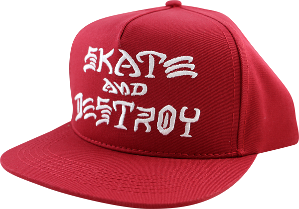 Thrasher Sk8 & Destroy Hat Adj-Blood Red