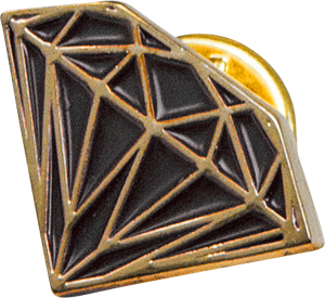 Diamond Brilliant Pin Blk/Gold