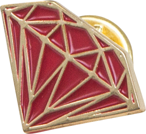 Diamond Brilliant Pin Red/Gold
