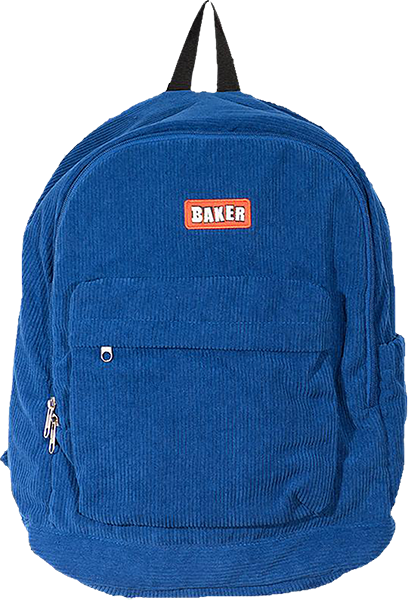 Baker Brand Logo Cord Backpack Blue