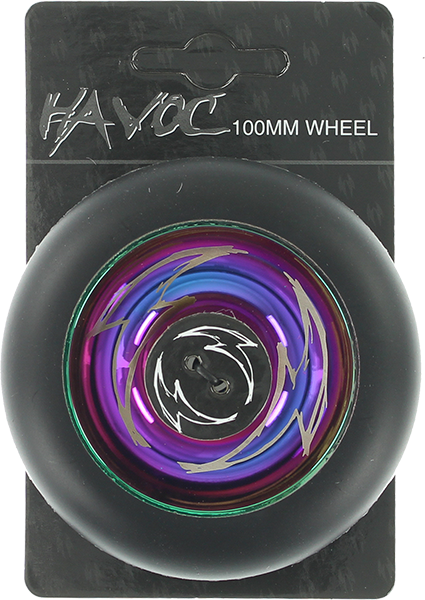 Havoc 100Mm Spoked Wheel Black/Oilslick W/Bearings