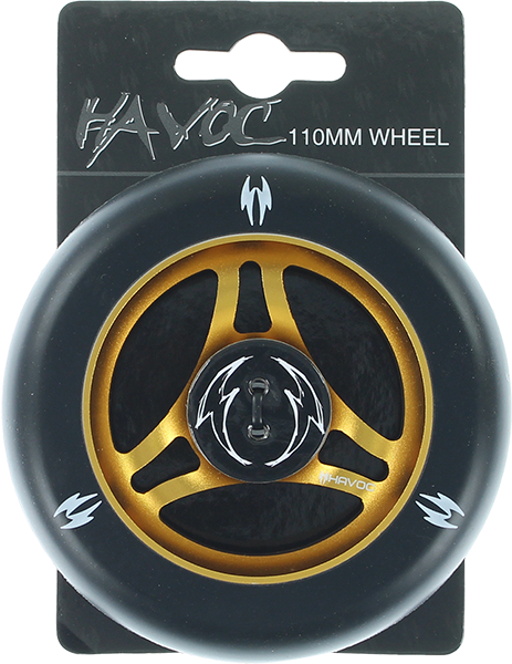 Havoc 110Mm Spoked Wheel Black/Gold W/Bearings